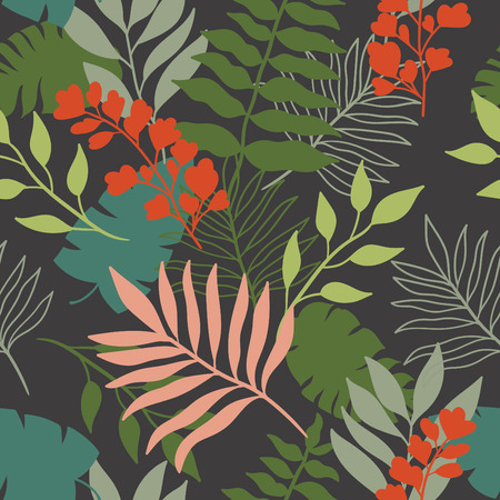 wet leaf: tropical leaves seamless pattern