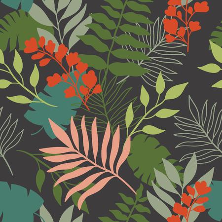 fruit stem: tropical leaves seamless pattern