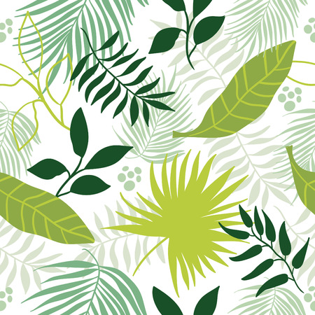 exotic fruit: tropical leaves seamless pattern