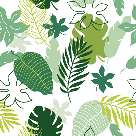 fronds: tropical leaves seamless pattern
