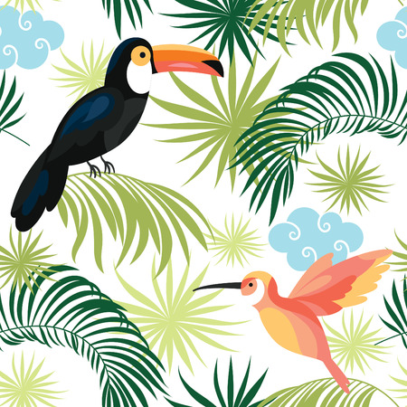tropical birds: seamless pattern with tropical birds Illustration