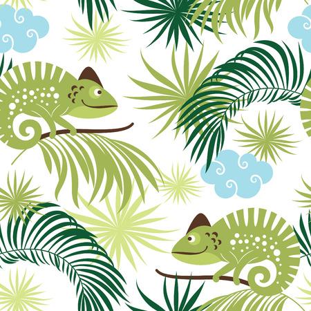 chameleons: seamless pattern with chameleons Illustration