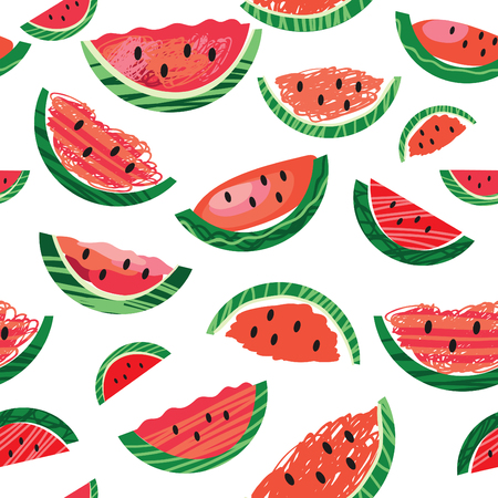 watermelon slice: Watermelon slice seamless pattern