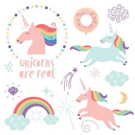 set of magic unicorns, rainbow, clouds, magic graphic elements