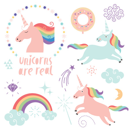 set of magic unicorns, rainbow, clouds, magic graphic elements