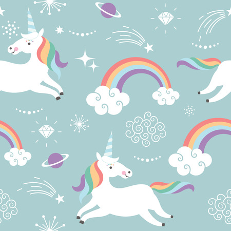 Unicorn Pattern Art Print Stok Fotoğraf