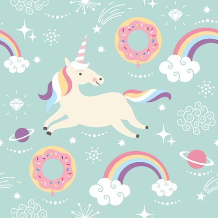 Unicorn fish: Unicorn Pattern Art Print Stock Photo