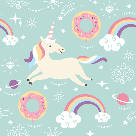 pastel color: Unicorn Pattern Art Print Stock Photo
