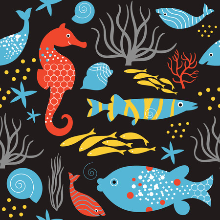 decorated: seamless pattern sea life , black background