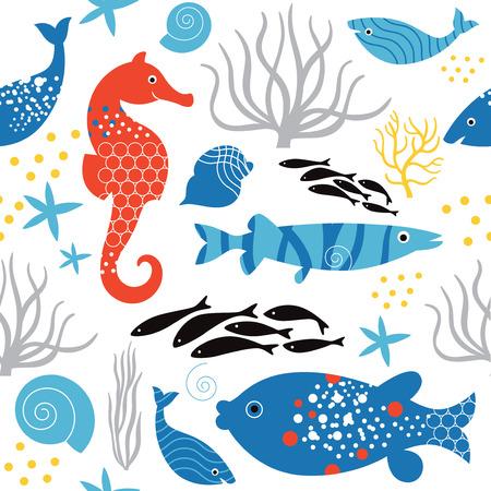 seamless pattern sea life Illustration