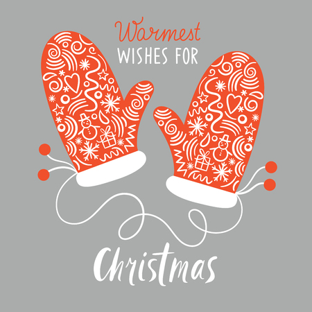 claus: Christmas Mittens, greeting Christmas card Illustration
