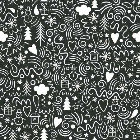 シームレスなクリスマスのパターン、楽しい落書き