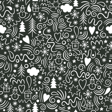 seamless Christmas pattern, fun doodles