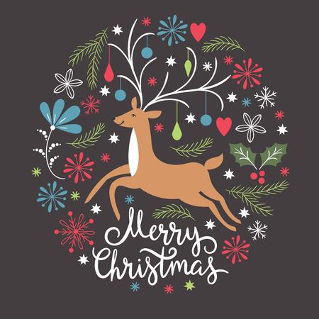 Christmas card, Christmas deer, illustration