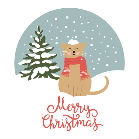 Christmas card, cute snow-covered cat