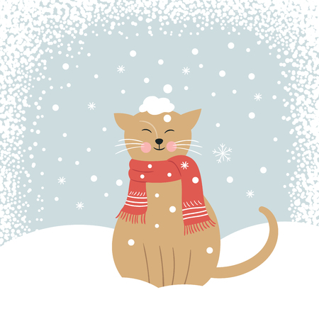 snowcovered: Christmas card, cute snow-covered cat