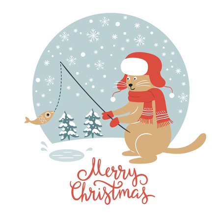 Christmas card, cat fisherman