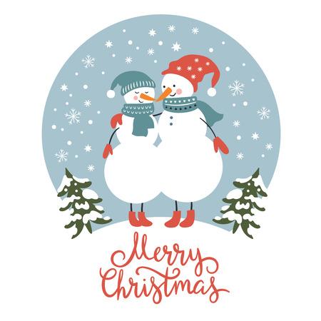 Christmas card, cute snowmen Illustration