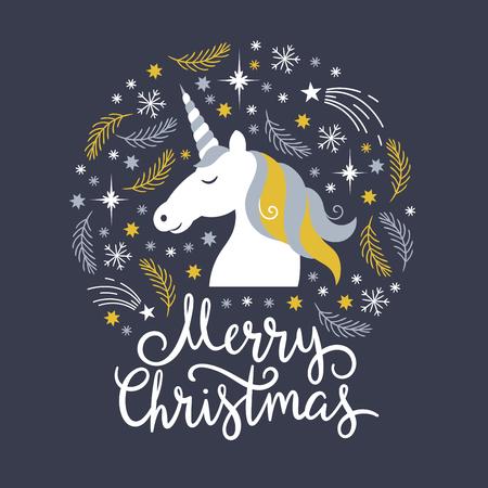Christmas illustration, merry christmas, unicorn  イラスト・ベクター素材