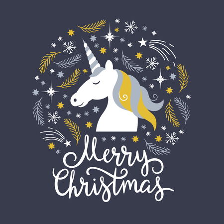 Christmas illustration, merry christmas, unicorn Vectores