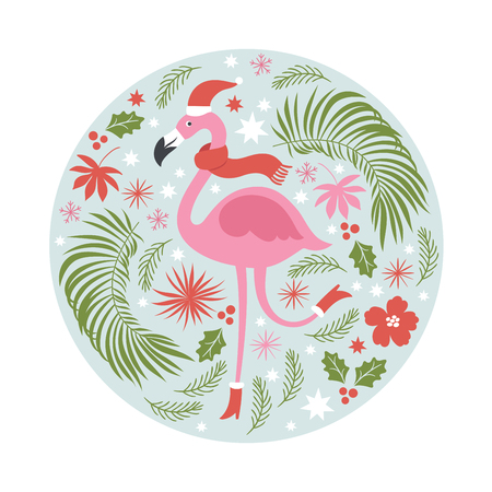 Christmas illustration in tropical style