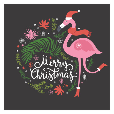 Christmas illustration with flamingo