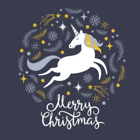 Christmas illustration with unicorn, merry christmas Ilustrace