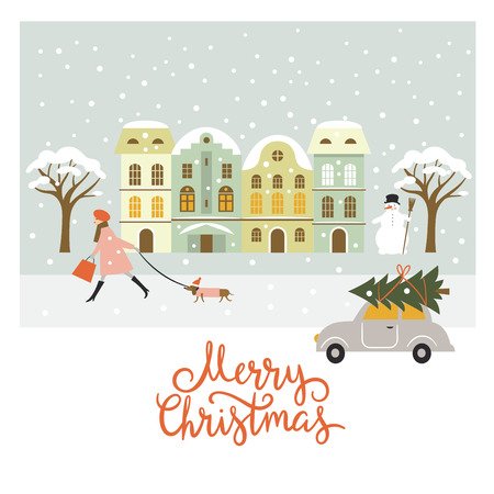 european: Greeting card, Christmas and New Years illustration, Merry Christmas lettering