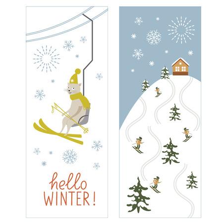 chairlift: Christmas banners, Ski resort Illustration