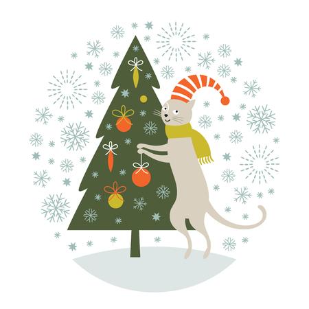 Christmas card, cat decorates christmas tree