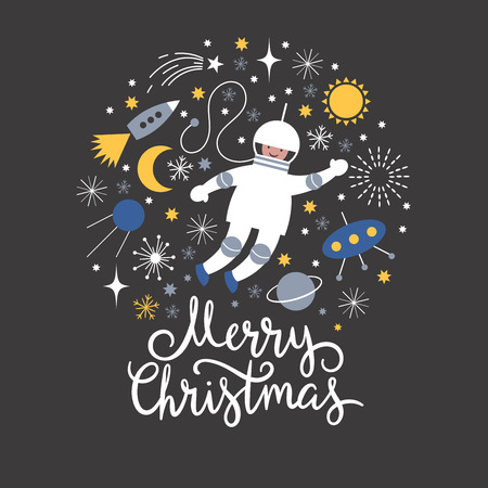 Cosmonaut in open space, vector Christmas card Illustration