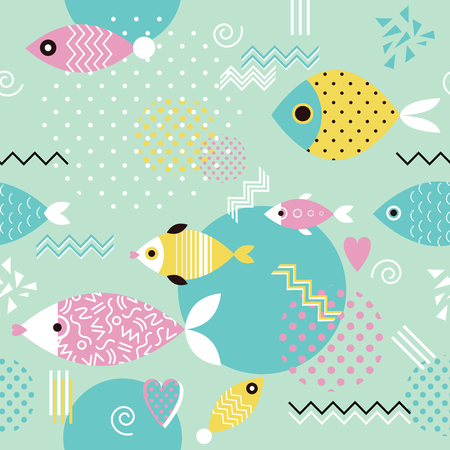 geometric shapes: seamless pattern with stylized fish in memphis style