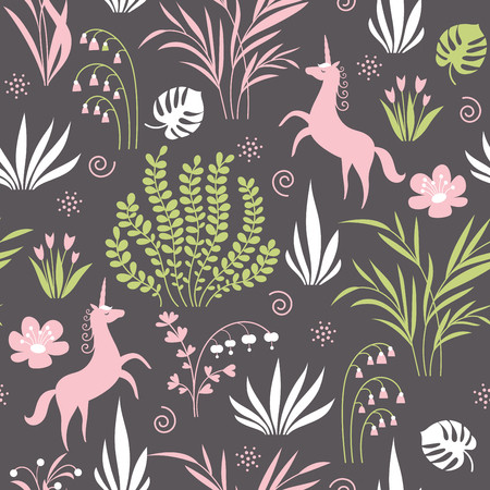 seamless pattern with plants and unicorns Ilustração