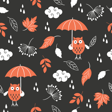 clouds: seamless autumn floral pattern Illustration