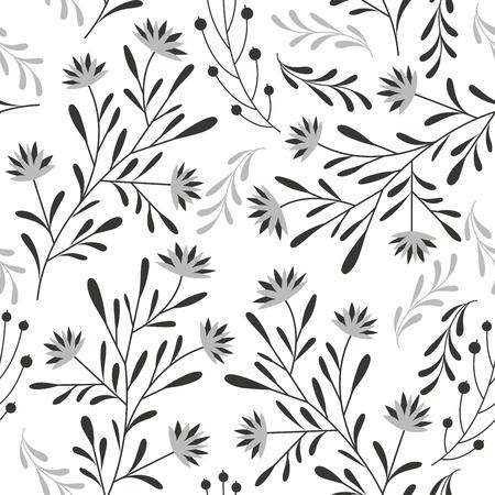 grey: seamless floral pattern
