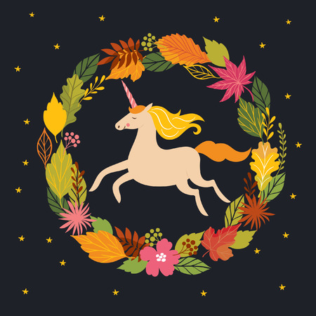 Hello fall, autumn unicorn on black background Illustration