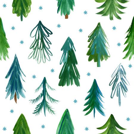 christmas tree illustration: Christmas trees, seamless pattern Stock Photo