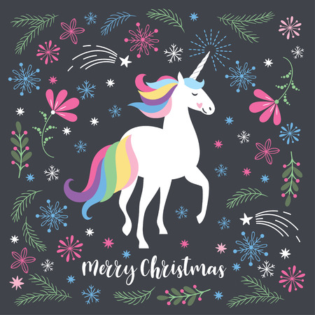 Christmas card with unicorn. Illustration