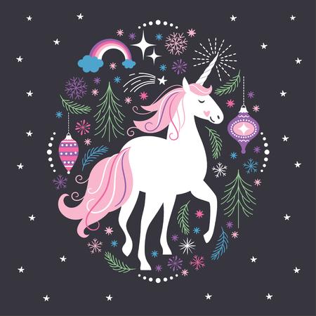 クリスマスカード白ユニコーン  イラスト・ベクター素材