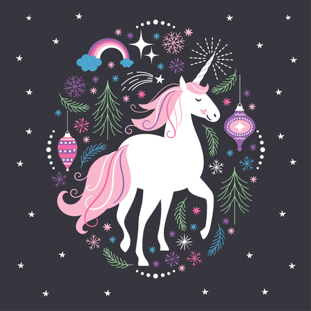 Christmas card White Unicorn 일러스트