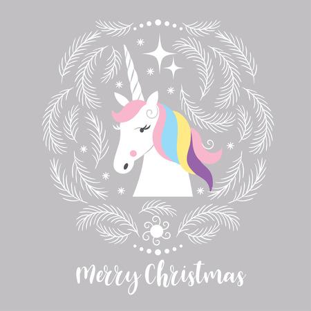Weihnachtskarte mit Einhorn Standard-Bild - 87154459