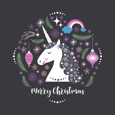 Christmas card with Unicorn