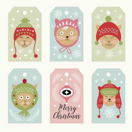set of christmas cards templates, funny cats in hats