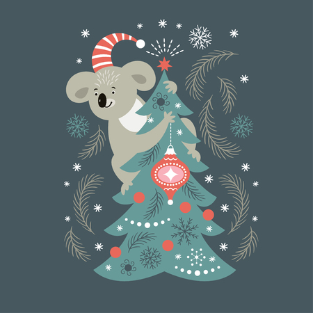 koala and christmas tree 일러스트