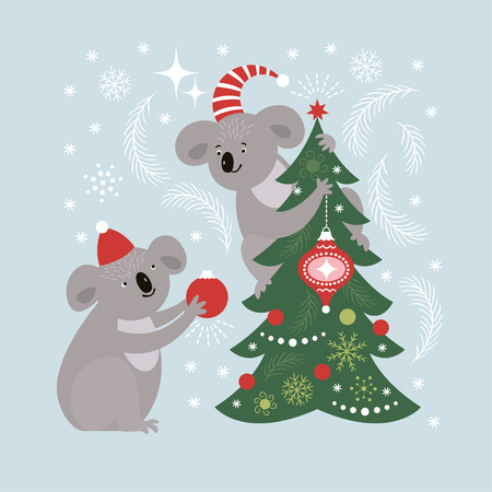 Koala decorates christmas tree, greeting card