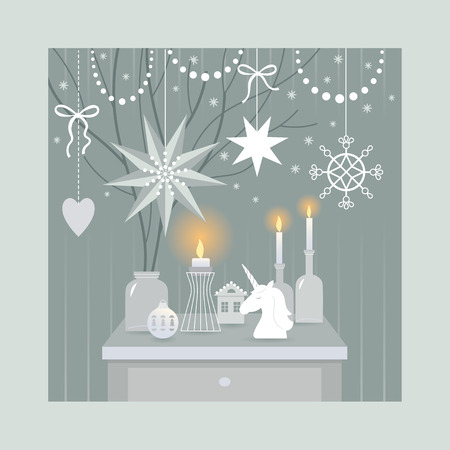 Christmas decorating , vector illustration Illustration