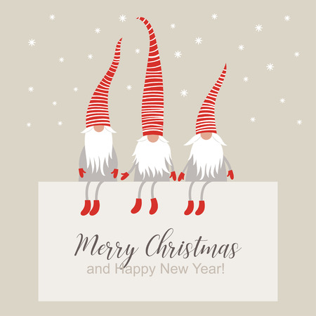 Christmas card, gnomes in striped hats