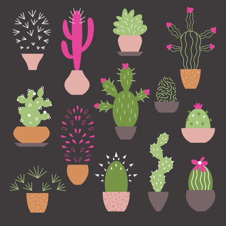 cactus collection Stock Illustratie
