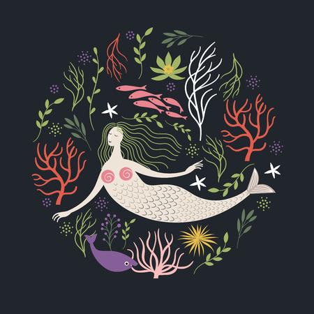 mermaid look illustration