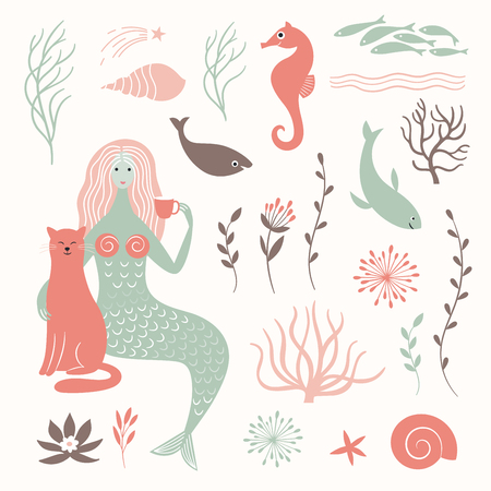 mermaid, cat and sea life elements